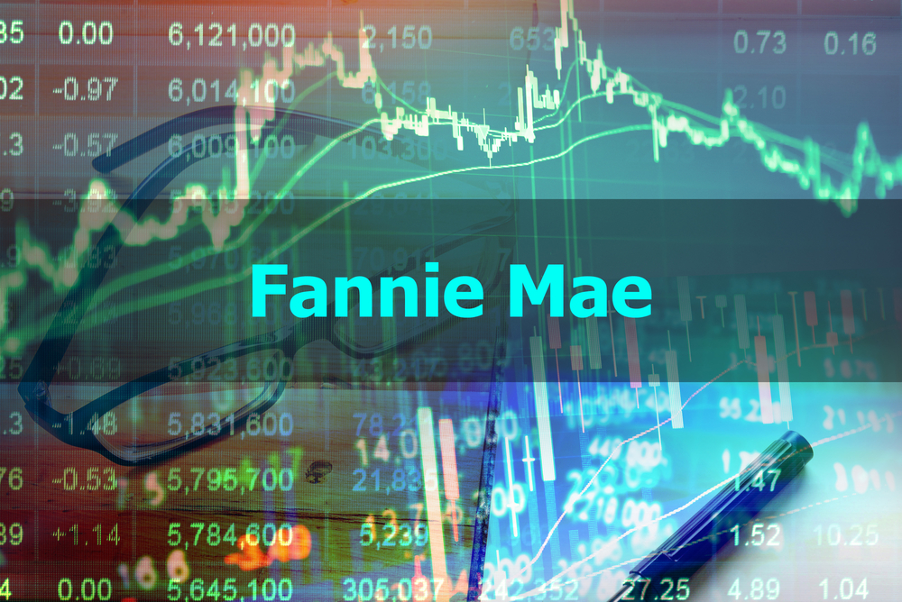 The Words Fannie Mae in neon green with stock numbers showing up transparently with a pair of glasses behind them.