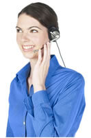 Woman taking call on headset